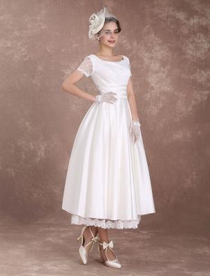 Vintage Wedding Dress Short Sleeve 1950'S Bridal Dress Backless Polka Dot Lace Trim Ivory Wedding Reception Dress Exclusive_6