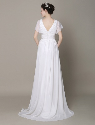 Plunging Chiffon Beach Wedding Dress A-Line Ivory V-Neck Pleated Belt Short Sleeves Bridal Dress With Court Train Exclusive_5