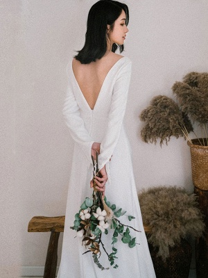 White Simple Wedding Dress Satin Fabric V-Neck Long Sleeves Buttons Mermaid Bridal Gowns_6