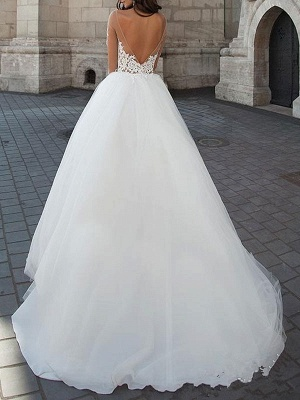 Princess Wedding Dress 2021 Ball Gown Sweetheart Neck Long Sleeves Backless Lace Tulle Bridal Dresses With Court Train_3