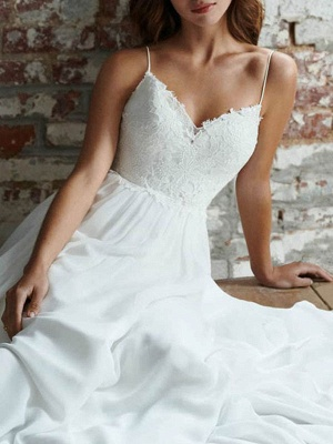 Simple Wedding Dress 2021 A Line V Neck Straps Sleeveless Lace Chiffon Bridal Dresses With Train For Beach Party_4
