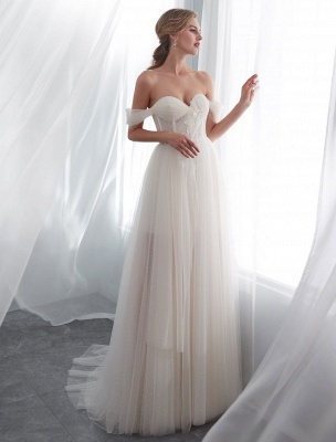 Brautkleider Tüll Elfenbein Schulterfrei Sweetheart Beach Brautkleid mit Schleppe_3