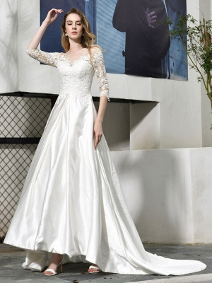 Vestido de novia simple Cuello joya Medias mangas Una línea Vestidos de novia con cuentas con tren_8
