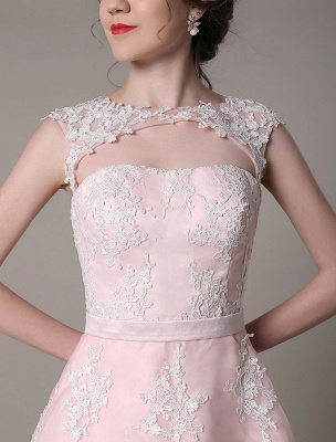 Lace Wedding Dress Cut Out Knee Length A-Line Bridal Dress With Satin Bow Exclusive_9
