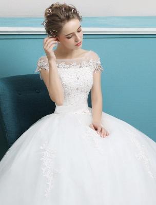 Prinzessin Brautkleider Ballkleider Spitze Perlen Elfenbein bodenlangen Brautkleid_5