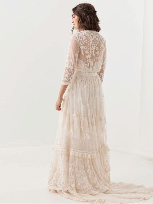 Boho Wedding Dress Suit 2021 V Neck Floor Length Lace Multilayer Bridal Gown Dress And Outfit_6