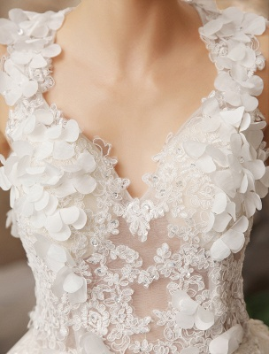 Ivory Backless Lace Applique Tulle Sequins Wedding Dress Exclusive_7