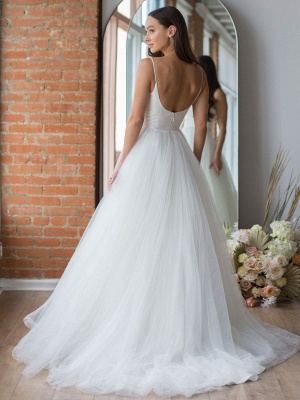 White Wedding Dress Designed Neckline Sleeveless Backless Zipper Tiered With Train Tulle Long Bridal Gowns_4