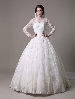 Kate Middleton Royal Wedding Dress Vintage Lace mit V-Ausschnitt und langen Ärmeln Exklusiv_5