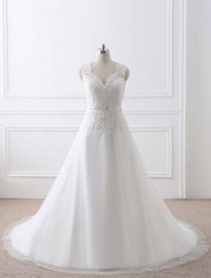 Weißes Hochzeitskleid Queen Anne Brautkleid mit Schärpe und Spitze_6