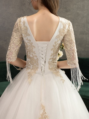 Princess Wedding Dress Ivory Lace Appilque V Neck Half Sleeve Bridal Gown With Train_7