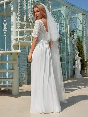Weißes Einfaches Brautkleid Chiffon Jewel Neck Kurze Ärmel Schärpe A-Linie Lange Brautkleider_4