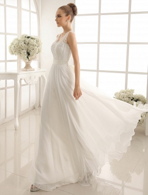 Ivory Wedding Dress Lace Sash Bow Sequins Wedding Gown Exclusive_3