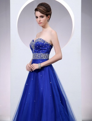 Blaues Abendkleid 2021 Langes Tüll Brautkleid Royal Blue Backless Strapless Sweetheart Court Train Brautkleid_4