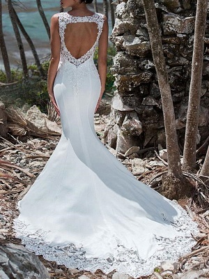 Wedding Dress 2021 Mermaid Lace Jewel Neck Sleeveless Back Hollow Out Bridal Gowns With Train_1