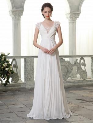 Beach Wedding Dresses V Neck Chiffon Summer Bridal Dress Chiffon Flowers Beading Pleated Floor Length Wedding Gown Exclusive_1