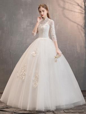 Tüll Brautkleider Elfenbein Illusion Ausschnitt Halbarm Bodenlangen Prinzessin Brautkleid_4