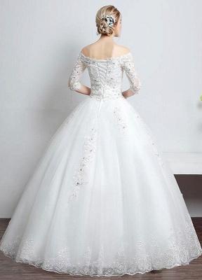 Brautkleid aus Spitze schulterfrei Elfenbein A-Linie Lace Up Half Sleeve Pailletten bodenlangen Brautkleid_3