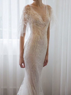 Brautkleider 2021 Mantel Sihouette Halbarm V-Ausschnitt Bodenlangen Bambusblatt Spitze Brautkleid_2