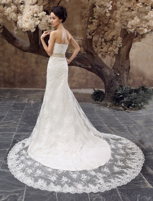 Wedding Dresses Mermaid Strapless Bridal Gown Lace Applique Beading Waist Sweetheart Neck Court Train Wedding Gown_4
