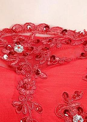 Brautkleid aus Spitze schulterfrei Elfenbein A-Linie Lace Up Half Sleeve Pailletten bodenlangen Brautkleid_7