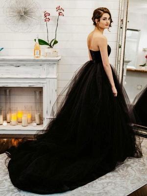 Black Wedding Dresses A-Line Strapless Pleated Taffeta Tulle Chapel Train Bridal Dress_4