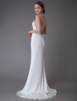 Beach Wedding Dresses Sexy Bridal Dress High Split Ivory Sheath Straps Summer Wedding Gowns Exclusive_8