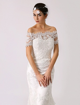 Vintage Inspired Off The Shoulder Mermaid Lace Wedding Dress Exclusive_4