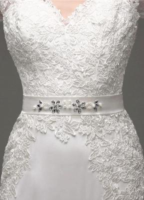 Etui-Linie Lange Ärmel Illusion Zurück V-Ausschnitt Brautkleid Mit Strass Schärpe_9