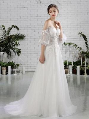 Vestido de novia de playa Vestidos de novia de marfil con hombros descubiertos Flores de media manga Escote corazón con cuentas Vestido de novia maxi para el verano_1