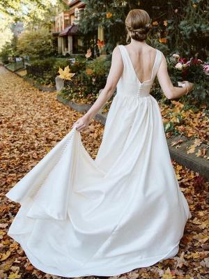 Elfenbein A-Linie Brautkleider mit Zug Ärmellose Taschen V-Ausschnitt Backless Satin Stoff Lange Brautkleider_6