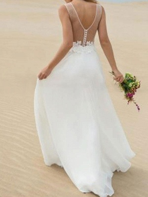 Simple Wedding Dress A Line V Neck Sleeveless Lace Illusion Back Bridal Gowns_2