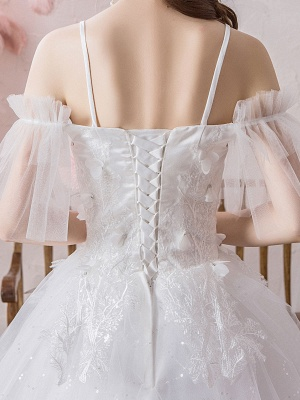 Ball Gown Wedding Dress Princess Silhouette Off The Shoulder Short Sleeves Natural Waist Floor Length Bridal Gowns_8