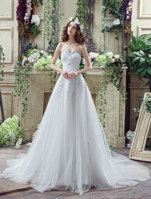 Tulle Wedding Dress Lace Beading Bridal Gown Strapless Sweetheart Chapel Train A-Line Backless Bridal Dress_2