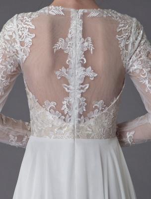 Boho Brautkleider Chiffon Jewel Langarm Plissee A-Linie Strand Brautkleider Exklusiv_11