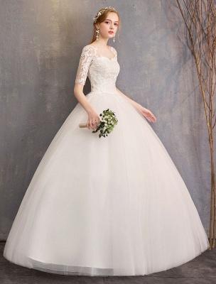 Vestidos de novia de encaje Marfil Escote de ilusión La mitad de manga Hasta el suelo Vestido de novia de princesa_3