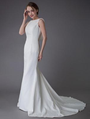 Brautkleider Elfenbein Mantel Einfaches Brautkleid mit Wasserfallausschnitt Strandhochzeitskleider mit Zug Exklusiv_5