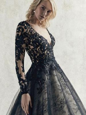 Vestidos de novia negros Encaje Princesa Silueta Mangas largas Cintura natural Encaje Corte tren Vestido de novia_5