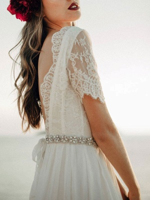 Einfache Hochzeitskleid A-Linie Jewel Neck Spitze Kurzarm Bodenlangen Chiffon Strandhochzeit Brautkleider_5