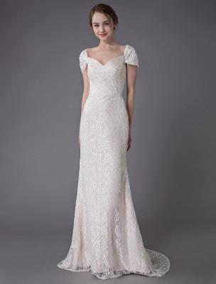 Robe de mariée en dentelle crème vanille chérie robe de mariée à manches courtes robe de mariée sirène avec train exclusif_4