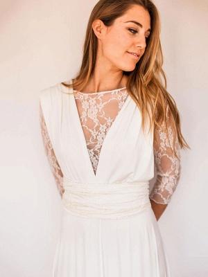 Robes de mariée A-ligne Jewel Neck manches longues en dentelle dos nu en mousseline de soie Robes de mariée_3