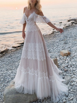 Boho Wedding Dresses 2021 A Line Deep V Neck Straps Lace Short Sleeve Bridal Gown For Beach Wedding With Sweep Train_1