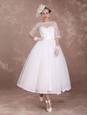 Vintage Brautkleid 50er Jahre kurzes Brautkleid Elfenbein rückenfrei Polka Dot halbe Ärmel Schatz Schleife Schärpe Weddig Empfangskleid exklusiv_5