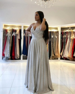 Spaghetti Straps Sparkly Sequins Aline Party Dress Sleeveless V-Neck Evening Dress_3