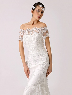Vintage Inspired Off The Shoulder Mermaid Lace Wedding Dress Exclusive_5