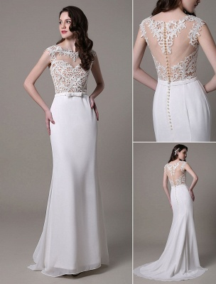 Vintage Wedding Dress Lace And Chiffon Sheath With Stunning Bateau Illusion Neckline And Illusion Back Exclusive_1