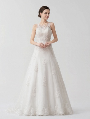 Sweep Ivory Lace Sweetheart A-Line Brides Wedding Dress With Adjustable Strap_2