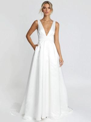 Weißes einfaches Hochzeitskleid Satin Stoff V-Ausschnitt ärmellose rückenfreie A-Linie Brautkleider_1