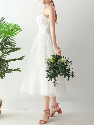 Short Wedding Dress2021 A Line Sweetheart Neck Sleeveless Tea Length Natural Waist Tulle Bridal Dresses_2