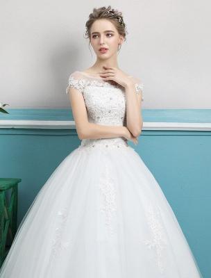 Prinzessin Brautkleider Ballkleider Spitze Perlen Elfenbein bodenlangen Brautkleid_6